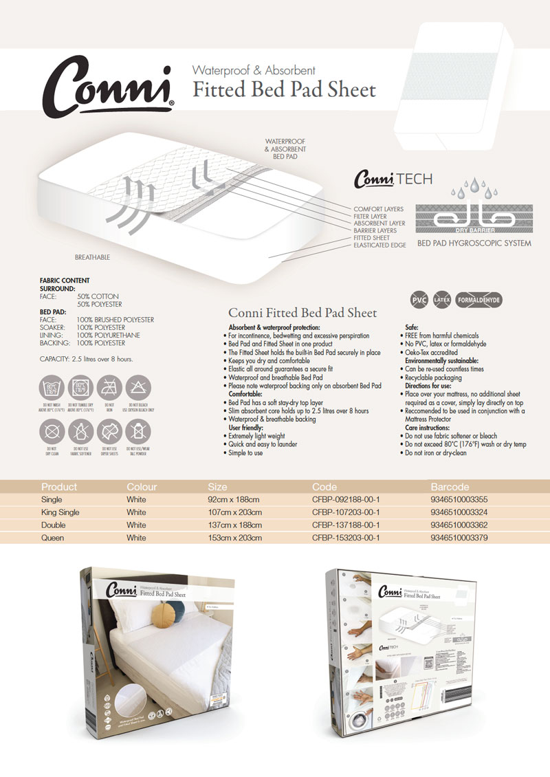 Conni Bed pad specifications download