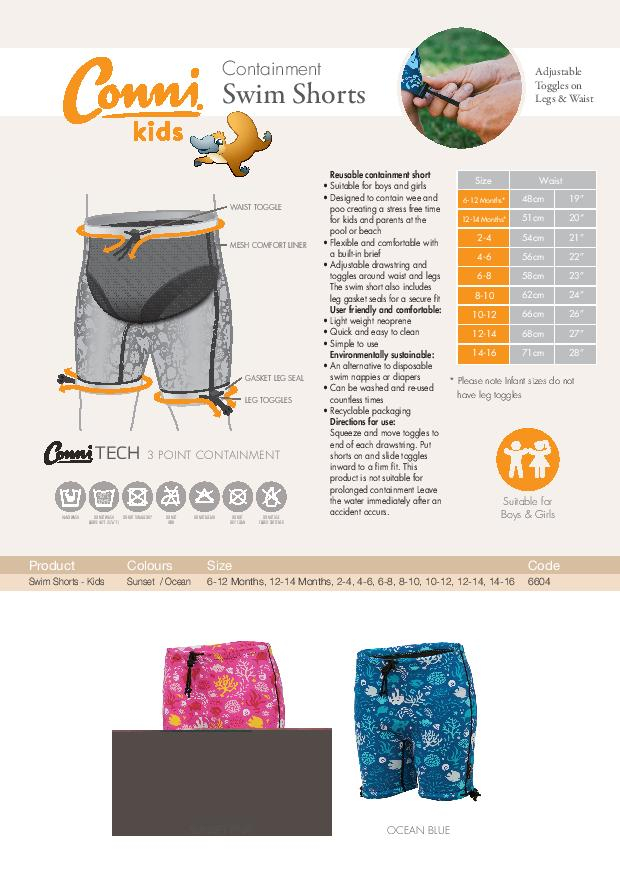 Conni Kids Swim Shorts specifications download