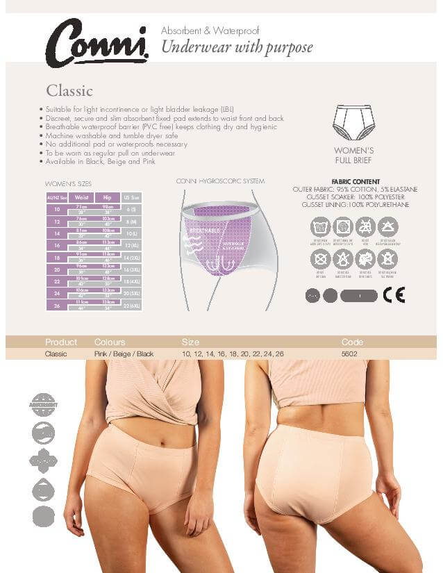 Conni Women's Classic Underwear specifications download